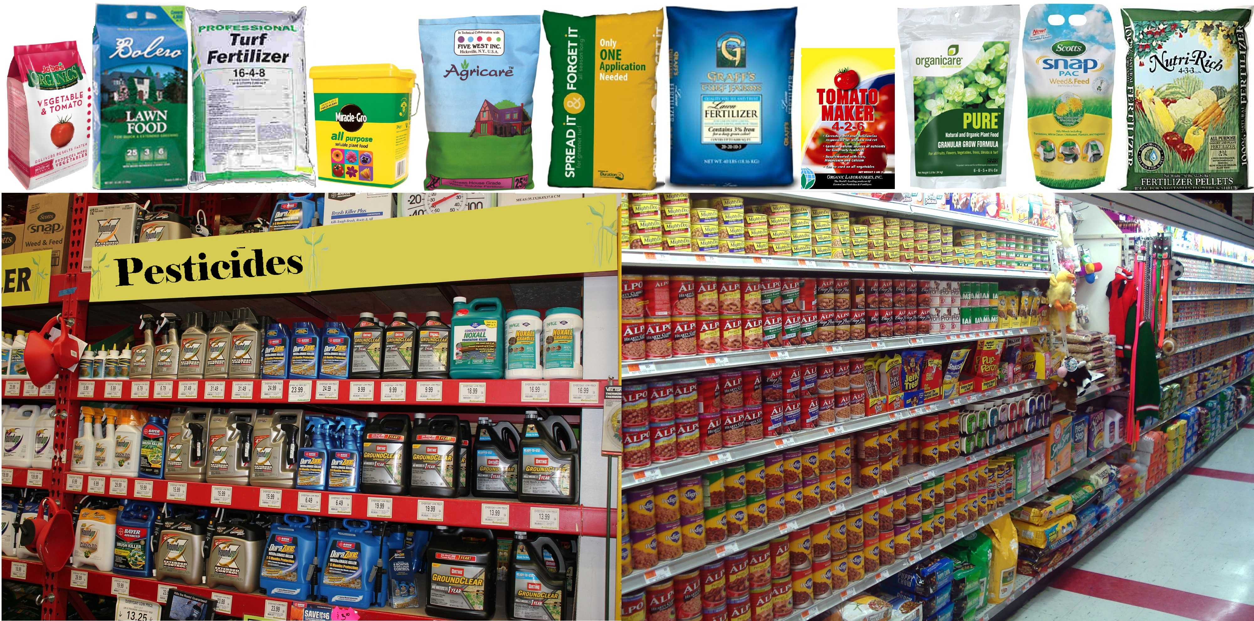 Feed, Fertilizer and Pesticide products on shelves
